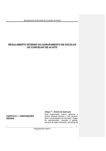 REGULAMENTO INTERNO DO AGRUPAMENTO DE ... - Webnode
