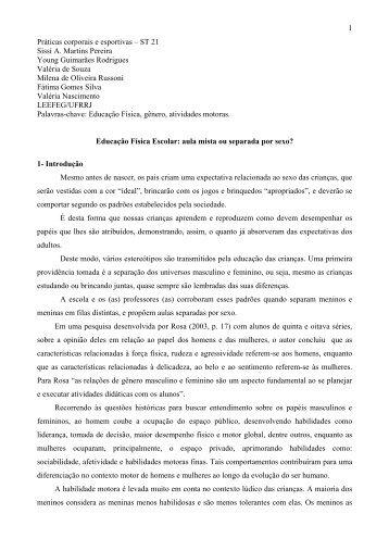 1 Práticas corporais e esportivas – ST 21 Sissi A. Martins Pereira ...