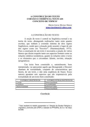 A Construção do texto: Coesão e coerência textuais - CiFEFiL