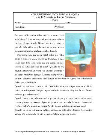 Ficha de Avaliação de Língua Portuguesa 4º Ano Nome: Data ...