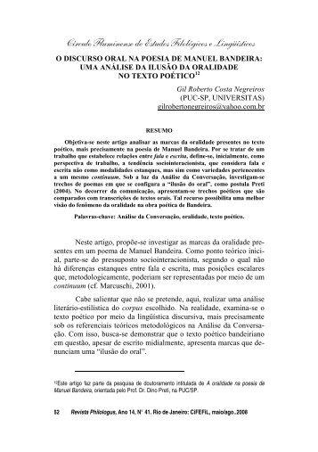o discurso oral na poesia de manuel bandeira - CiFEFiL