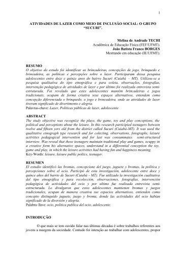 1 ATIVIDADES DE LAZER COMO MEIO DE INCLUSÃO SOCIAL: O ...