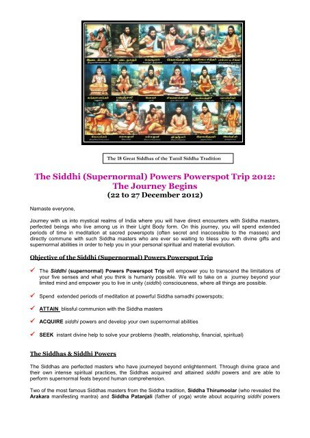 The Siddhi (Supernormal) Powers Powerspot Trip     - Dr