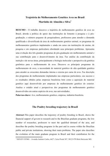 PERSPECTIVAS DO MELHORAMENTO DE AVES - Sociedade ...