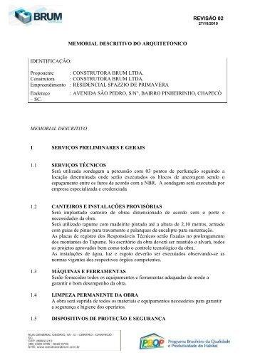 REVISÃO 02 MEMORIAL DESCRITIVO DO ... - Cooperchap