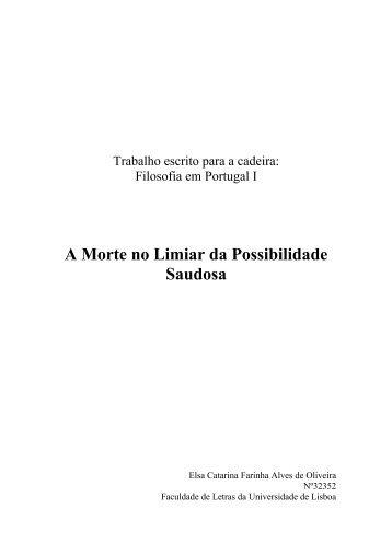 1) A Morte no Limiar da Possibilidade Saudosa - Paulo Borges