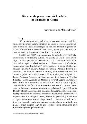 Discurso de posse como sócio efetivo , Instituto do Ceará