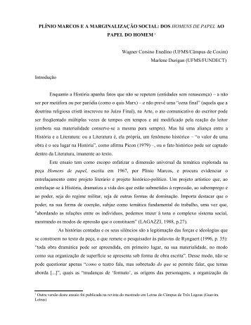 Plínio Marcos e a Marginalização Social - Web revista Discursividade
