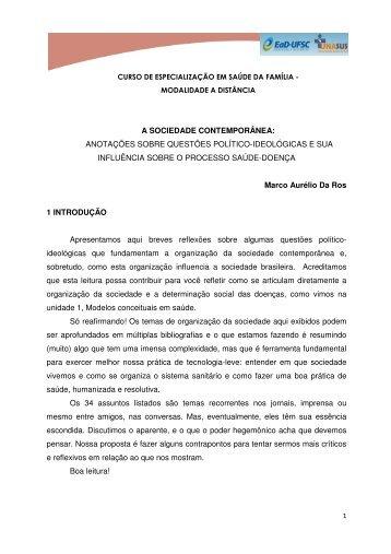 a sociedade contemporânea - Moodle (V2) UNA-SUS/UFSC