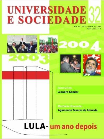Ano XIII - Nº 32 - Março de 2004 ISSN 1517-1779 - Andes-SN