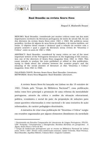 Raul Brandão na revista Seara Nova novembro de ... - fflch - USP