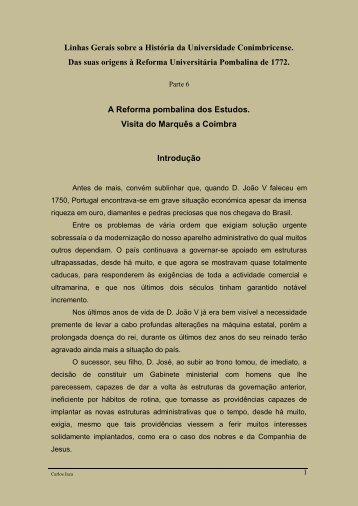 Linhas Gerais sobre a História da Universidade Conimbricense