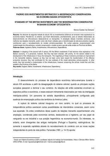 Padrão de Investimentos Britânicos e a ... - Revista.ufal.br