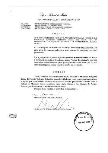 Recurso Especial nº 66.643 - STJ - Tribunal de Justiça Militar do ...