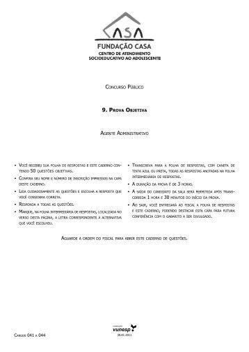 Prova Objetiva - Agente Administrativo - Central de Concursos