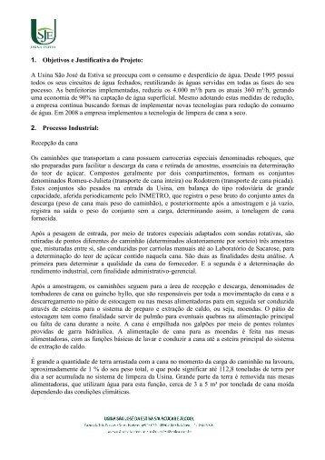 1. Objetivos e Justificativa do Projeto: A Usina São José da ... - Fiesp
