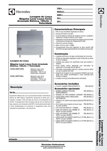 Máquina Lavar Louça Cesto Arrastado Elétrica, 100c/hr - Electrolux