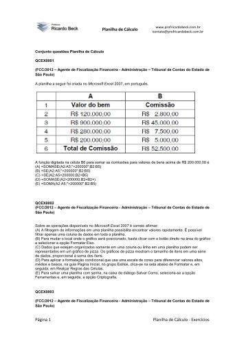Planilha de Cálculo Página 1 Planilha de Cálculo - Prof. Ricardo Beck