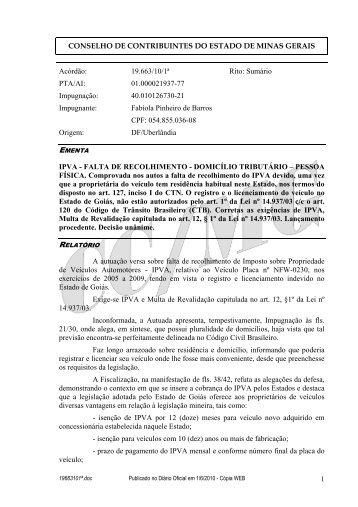 19663101ª - Secretaria de Estado de Fazenda de Minas Gerais