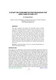 A Study On Consumer Buying Behaviour For Used Cars In Pune City