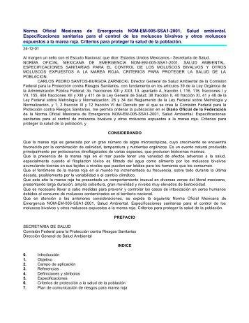 Norma Oficial Mexicana de Emergencia NOM-EM-005-SSA1-2001 ...