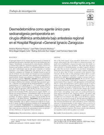 Dexmedetomidina como agente único para ... - edigraphic.com