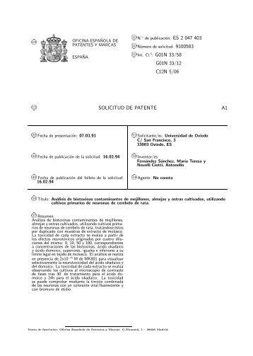 51 int cl 5 oficina espa ola de patentes y marcas for Oficina patentes y marcas