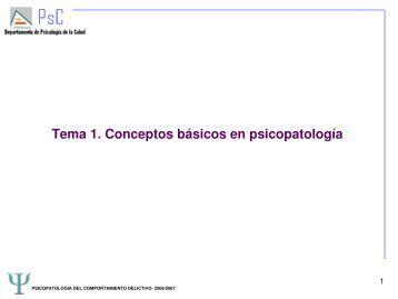 Tema 1. Conceptos básicos en psicopatología - RUA