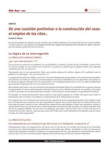 De una cuestión preliminar a la construcción del caso: el ... - Virtualia