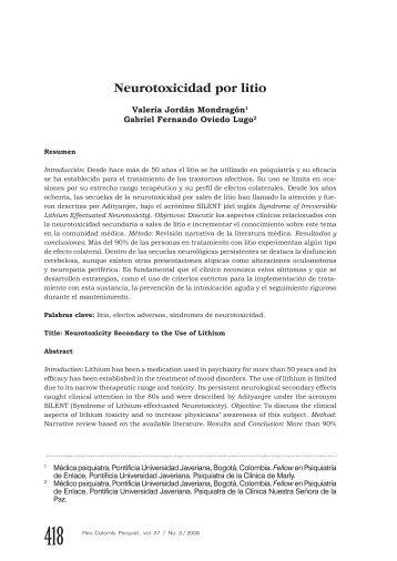 Neurotoxicidad por litio
