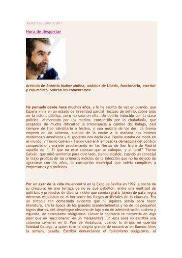 Artículo de Antonio Muñoz Molina (PDF, para descargar - Artes Libres