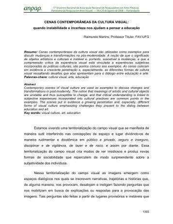 CENAS CONTEMPORÂNEAS DA CULTURA VISUAL ... - anpap