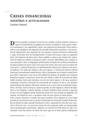 Crises financeiras história e actualidade Luciano Amaral - SciELO