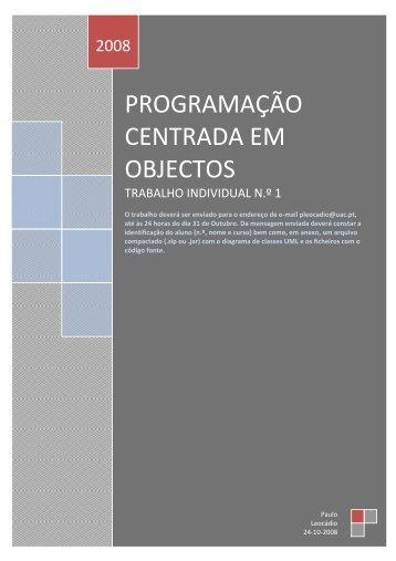 Trabalho individual n.º 1 - Paulo Leocádio - Universidade dos Açores
