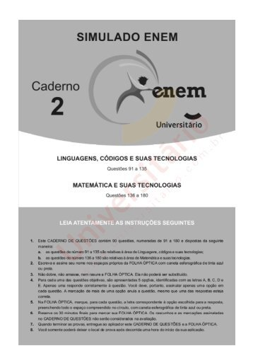 simulado, enem, 2012, linguagens, matematica, gabarito, curso pre ...