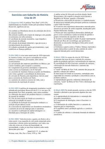 Exercícios com Gabarito de História Crise de 29 - Projeto Medicina