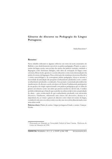 Gêneros do discurso na Pedagogia da Língua Portuguesa