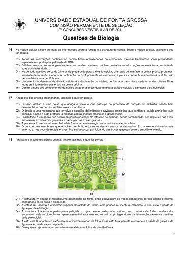 Questões de Biologia - Universidade Estadual de Ponta Grossa