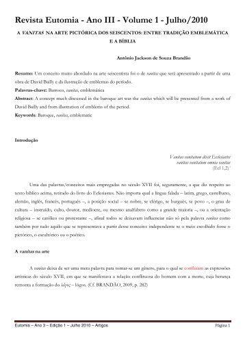Revista Eutomia - Ano III - Volume 1 - Julho/2010