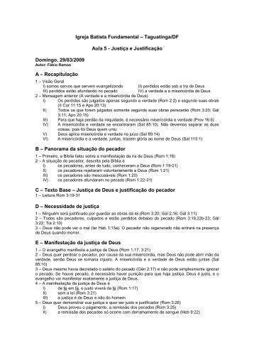20090329 - Justica e Justificacao (Aula 5) - Assim diz o SENHOR