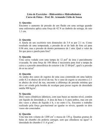 Lista de Exercícios – Hidrostática e Hidrodinâmica ... - Física - UEMS