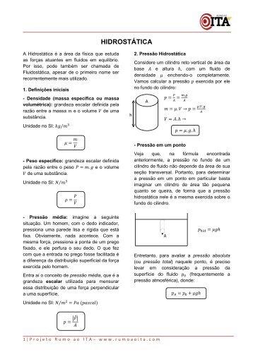 Hidrostática - Teoria e Exercícios - Projeto Rumo ao ITA