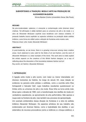 Subvertendo a Tradição: Moda e Arte na Produção - anpap