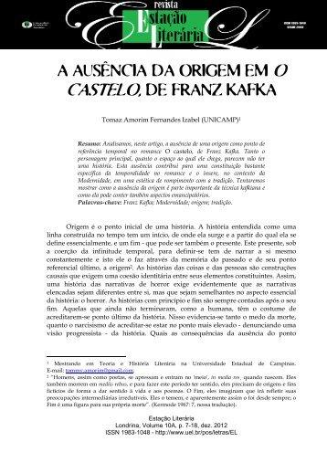 a ausência da origem em o castelo, de franz kafka - Universidade ...