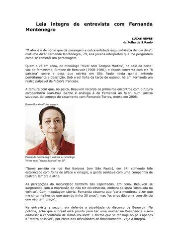 Leia íntegra de entrevista com Fernanda Montenegro