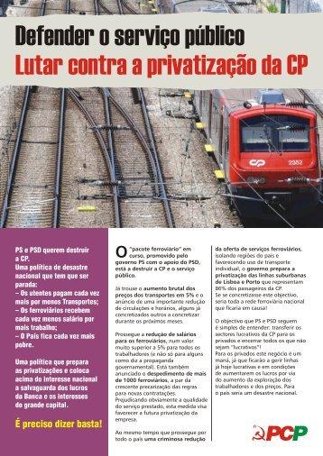 Folheto contra a privatização do sector ferroviário