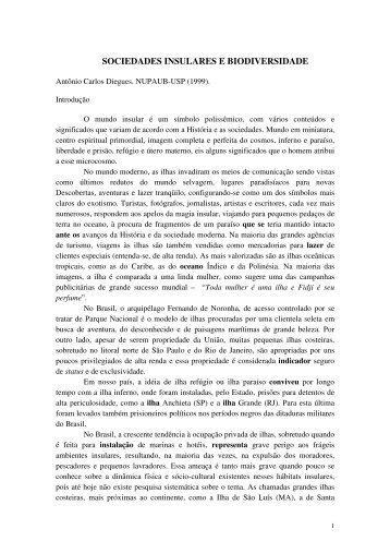 SOCIEDADES INSULARES E BIODIVERSIDADE - NUPAUB - USP