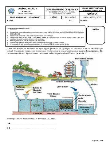 prova de 1ª certificação - química geral - Colégio Pedro II - UE Centro
