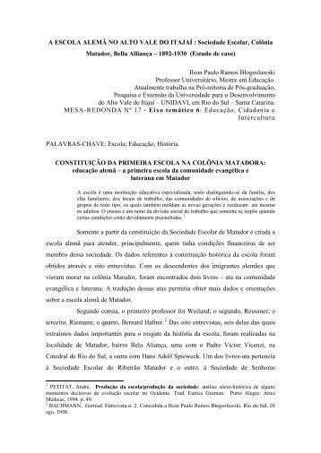A ESCOLA ALEMÃ NO ALTO VALE DO ITAJAÍ - Portal ANPED SUL