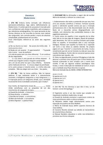 Literatura Modernismo - Projeto Medicina